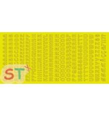 Sticker Alfabeto Letras y Números Oro