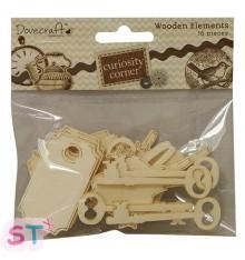 Adornos de madera llaves, etiquetas, pájaros