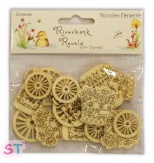 Adornos de madera ruedas, flores y jarrones