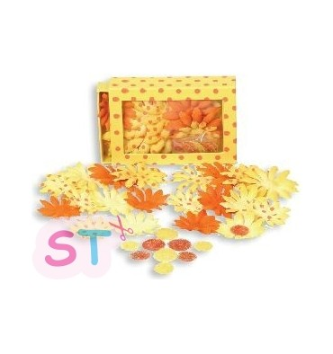 Flores de Tela Pequeñas Daisy Tuttifrutti Amarillo/Naranja