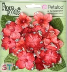 Flores de Tela Hydrangeas Rojas