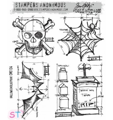 Sello Halloween Blueprint Stampers Anonimous Tim Holtz
