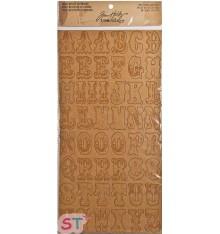 Alfabeto Letras y Números Kraft Resist Chipboard