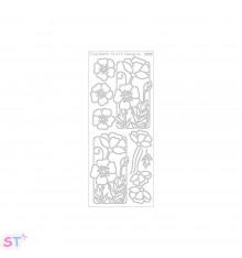 Sticker Flower Poppy Negro