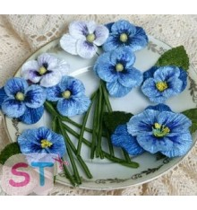 Velvet Pansies Blue x 3