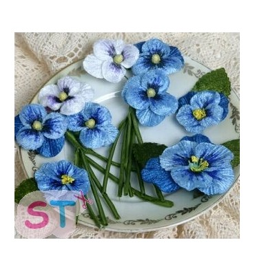 Velvet Pansies Blue x 3
