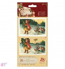 Victorian Christmas Mini Decoupage Girl