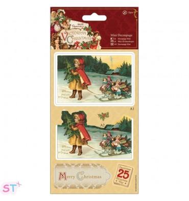 Victorian Christmas Mini Decoupage Girl