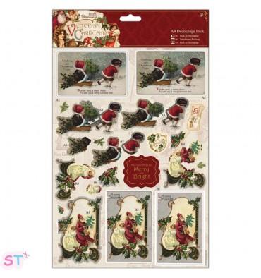 Victorian Christmas A4 Decoupage Sleigh
