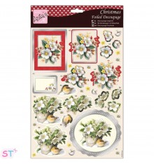 Anita's Christmas A4 Decoupage White Flowers