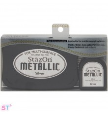 Tinta Stazon Metallic Kit Plateada