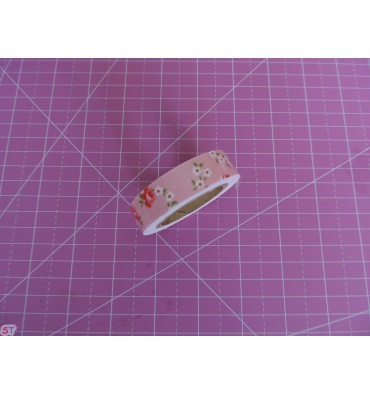 Fabric Tape florecitas blancas rosa