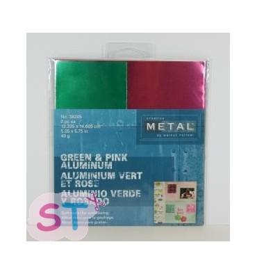 Hoja creative metal rosa y verde