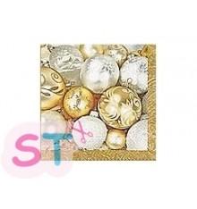 5 Servilletas de Papel Fine Christmas Balls