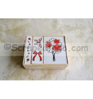 Pack cuatro sellos de flores