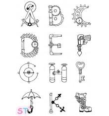 Sellos de silicona Steampunk Alphabet A-L