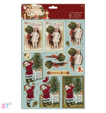 Victorian Christmas A4 Decoupage Holly
