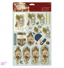Victorian Christmas A4 Decoupage Boy and Girl
