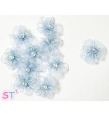 Flor Chiffon Azul x 10