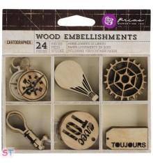 24 Adornos de madera Cartographer