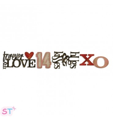 Troquel tira decorativa Stacked Words Valentines por Tim Holtz