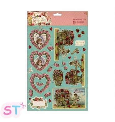 Victorian Valentine A4 Decoupage Hearts