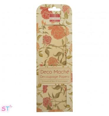 Deco Mache 3 hojas Boho Chic, English Rose