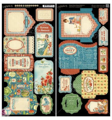 Home Sweet Home Tags and Pockets Cartulina precortada Graphic 45