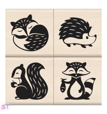 Set de cuatro sellos Woodland