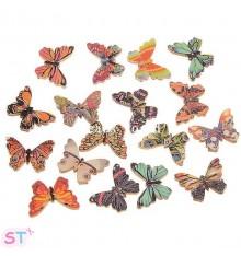 5 Botones de madera mariposas colores