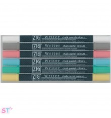 6 Rotuladores de punta doble Chalk Pastel Zig