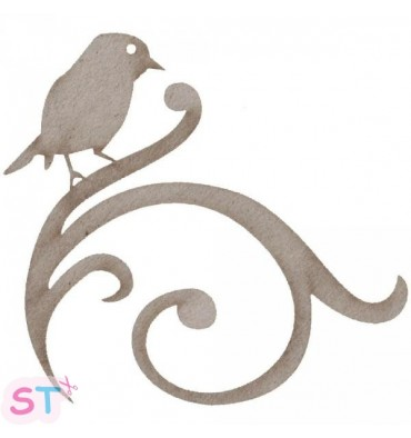 Bird On Swirl en chipboard
