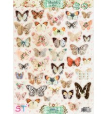 Hoja precortada Shabby Chic Mariposas A4