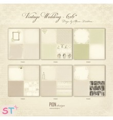 6 Papeles 12x12 Vintage Wedding de Pion Design