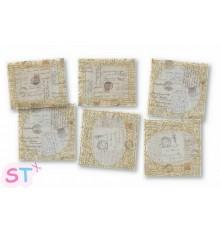 6 Tarjetas Vintage Papel Antiguo y Dorado