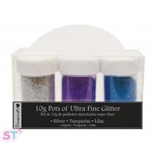 3 Glitters Plata, Turquesa y Lila