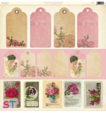 Papel 12x12 Vintage Bloom Tags