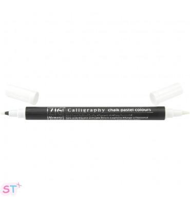 Rotulador Blanco de punta doble Chalk Pastel Zig