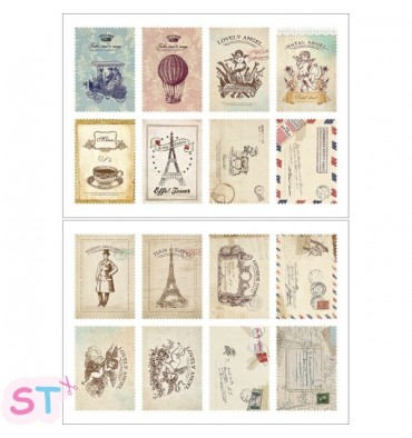 Set 16 sellos adhesivos Atelier
