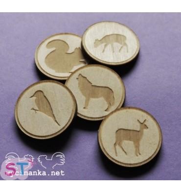 Botones de animales de madera x 5