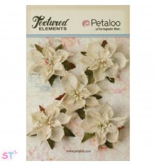 Textured Elements Poinsetias de arpillera Ivory x 5