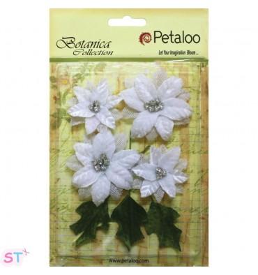 Vintage Velvet Poinsetias White x 4