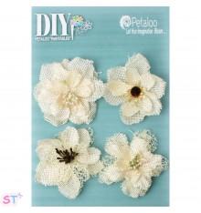 DIY Blooms pintables de arpillera x 4