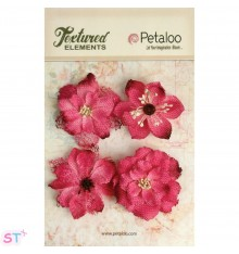 Textured Elements Blossoms de arpillera Fucsia x 4