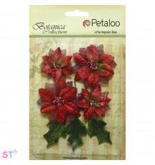 Vintage Velvet Poinsetias Red x 4