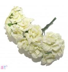 Rosas con glitter crema x 6