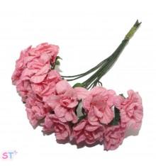 Rosas con glitter rosa x 6