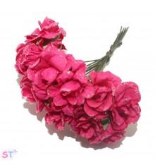 Rosas con glitter fucsia x 6