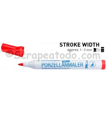 Rotulador de porcelana punta pincel rojo