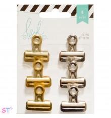 Clips de pinza dorados y plateados x 6